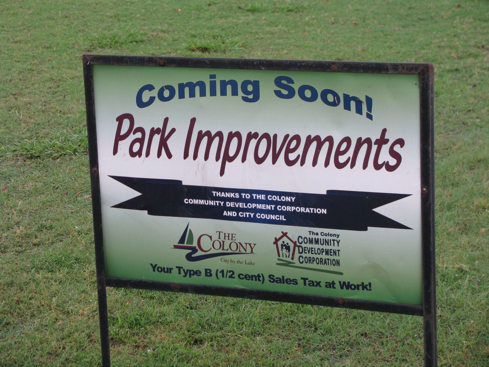 Coming Soon - Park Improvements Sign